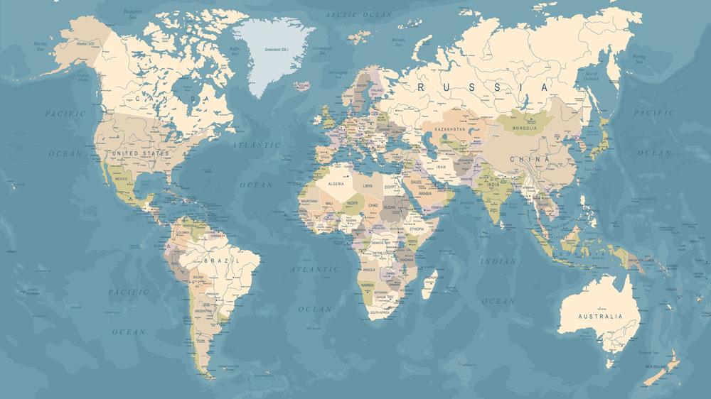 World Map Wallpaper & Wall Murals