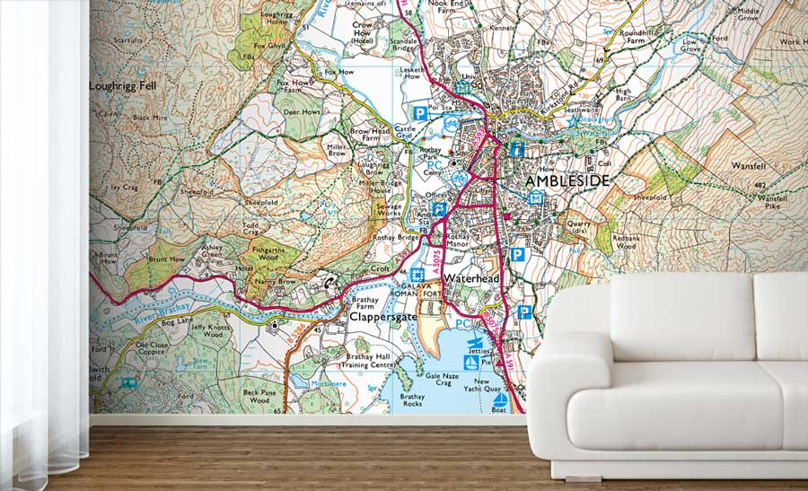 Map Wallpaper Uk Custom Printed Ordnance Survey Explorer 1:25 000 Map Wallpaper