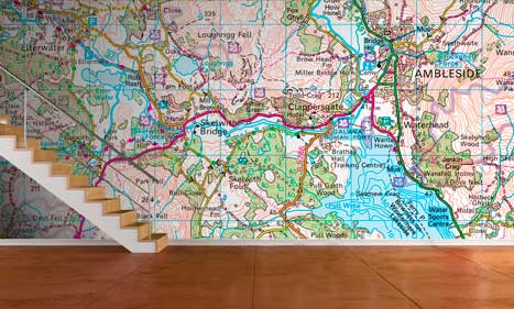 Custom printed ordnance survey wallpaper maps for Custom mural wallpaper uk