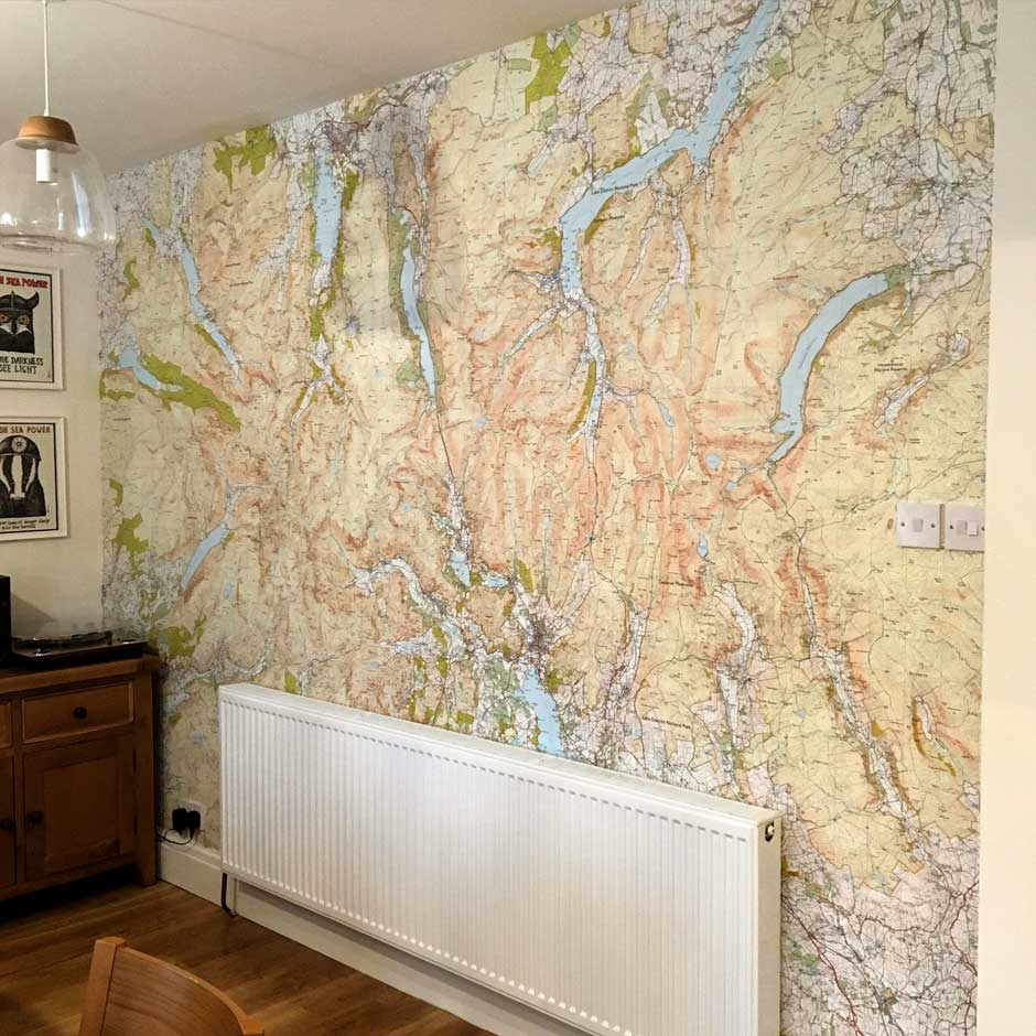 Custom Printed Ordnance Survey 125 000 Wallpaper Map