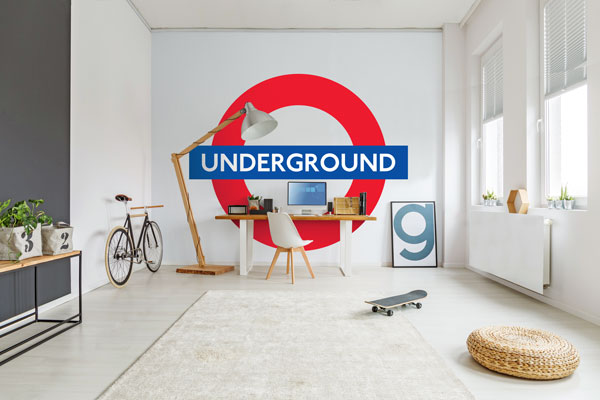 London underground roundel mural for Custom mural wallpaper uk