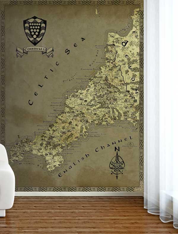 Cornwall Fantasy Map LOTR Tolkien Wallpaper Mural