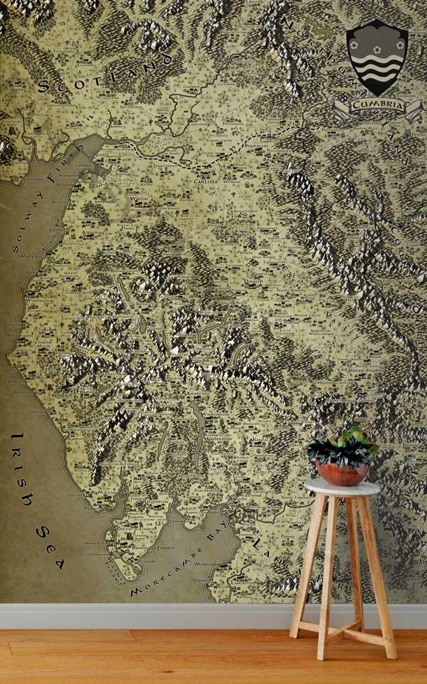 Cumbria Fantasy Map LOTR Tolkien Wallpaper Mural