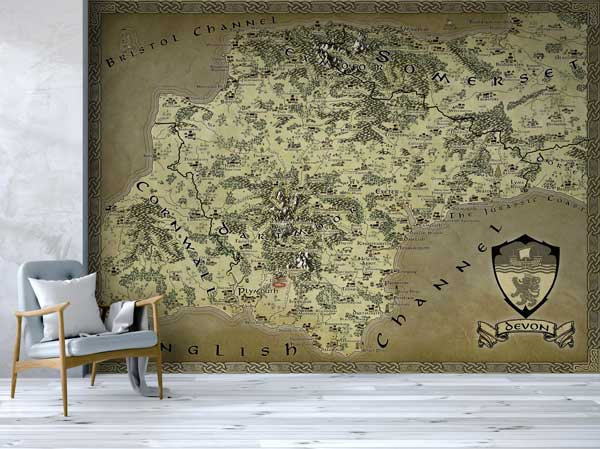 Devon Fantasy Map LOTR Tolkien Wallpaper Mural