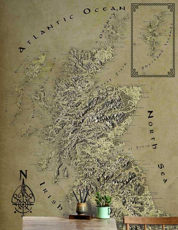 Scotland Fantasy Map LOTR Tolkien Wallpaper Mural