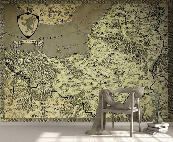 Somerset Fantasy Map LOTR Tolkien Wallpaper Mural
