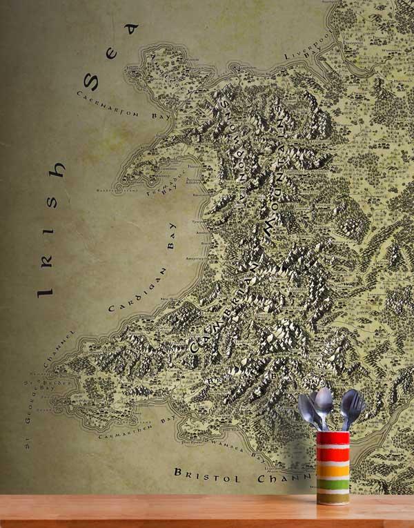 Wales Fantasy Map LOTR Tolkien Wallpaper Mural