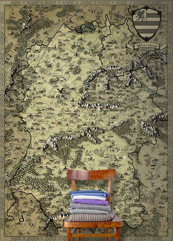 Wiltshire Fantasy Map LOTR Tolkien Wallpaper Mural