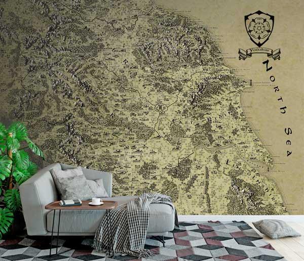 Yorkshire Fantasy Map LOTR Tolkien Wallpaper Mural
