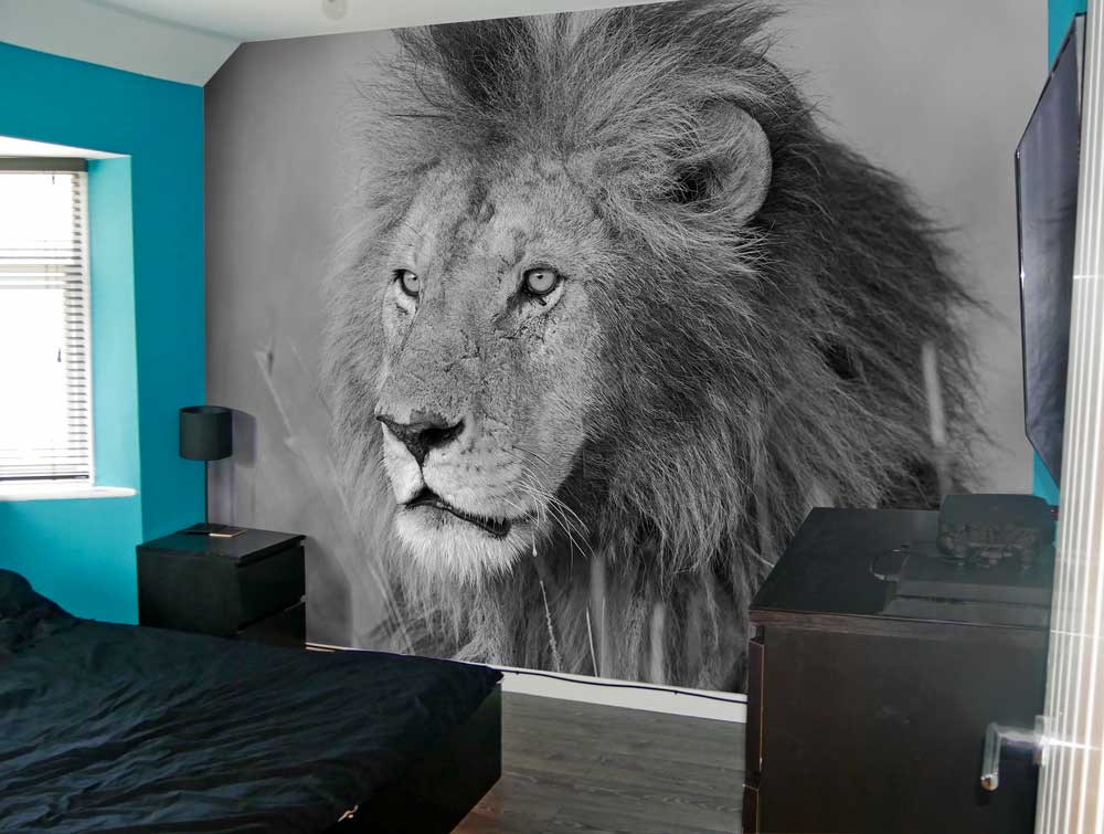 bedroom lion wallpaper