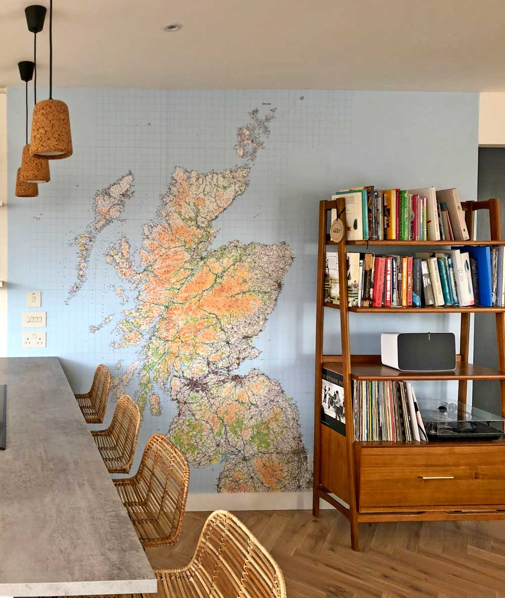 Debbie Happell Wallpaper Map of Scotland