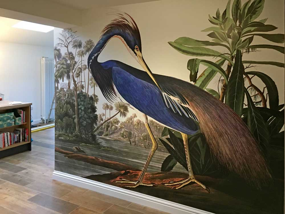 Heron Wallpaper Mural on Muraspec Digimura Smooth