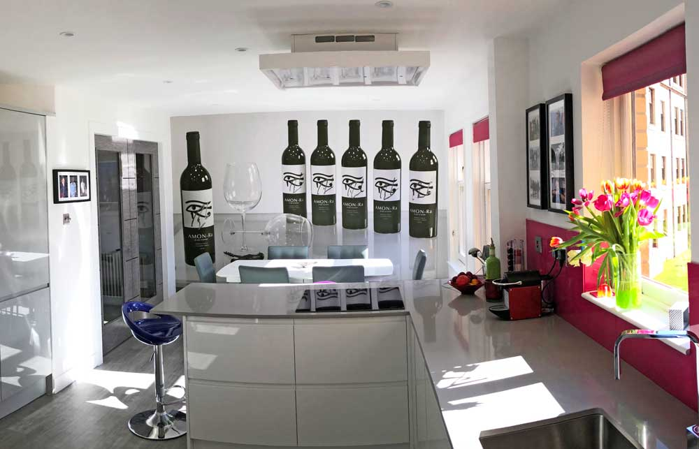 Kitchen wine bottle mural
