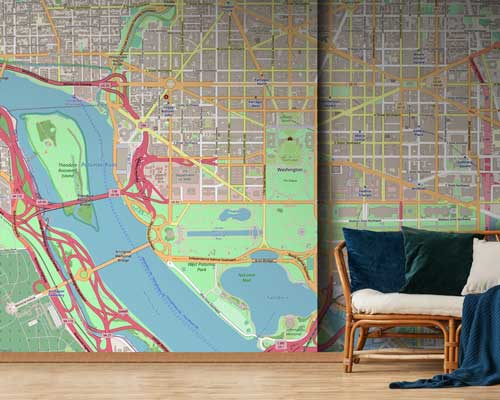 World City Map Murals