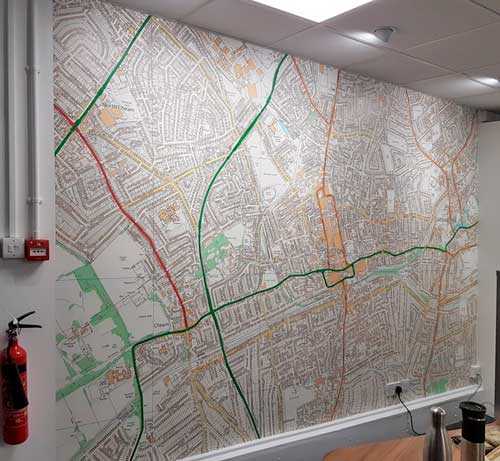 Custom Printed Ordnance Survey Map Wallpaper of Your Local Area