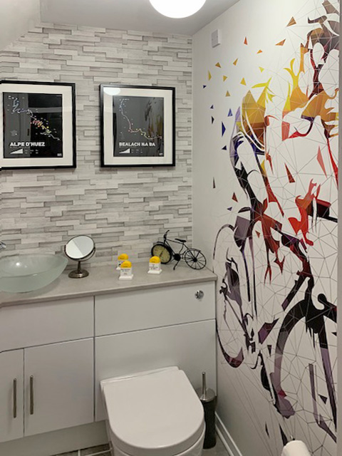 Robert Shiels bathroom cycle wallpaper mural