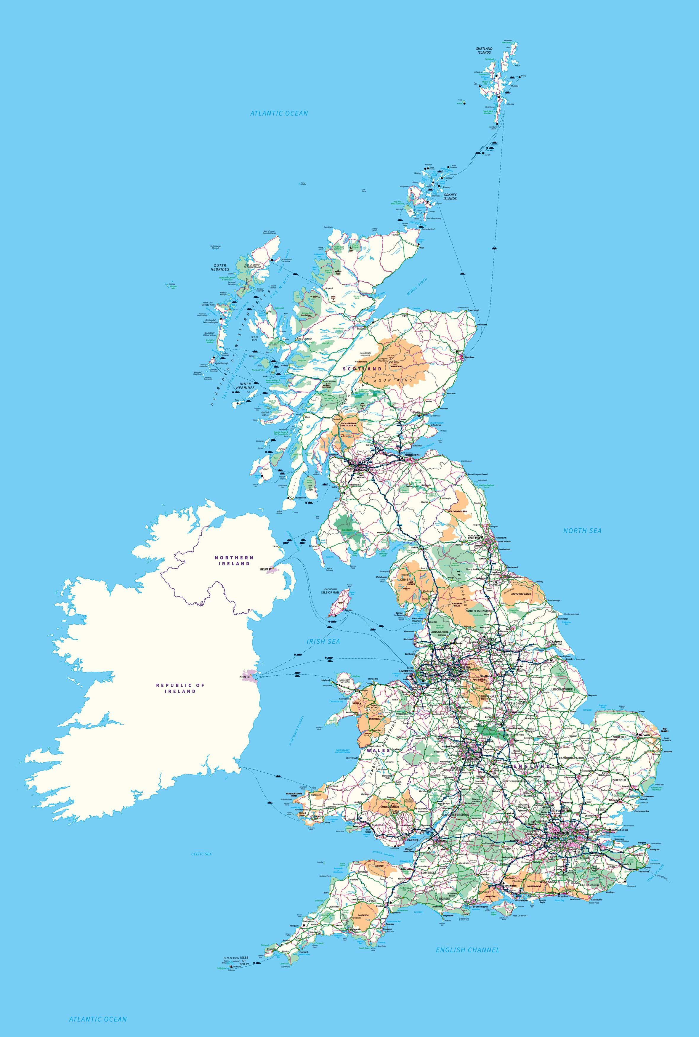 Custom Printed Ordnance Survey Great Britain Map Wallpaper