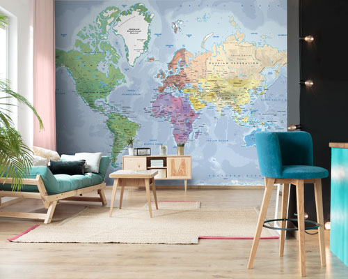 World Map Wallpaper - Physical